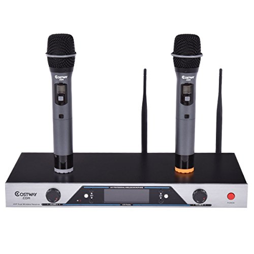 Audio 2x200 Channel UHF Wireless Hand Held Microphone Mic System LCD Display by Apontus