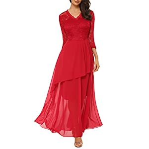 e4f8365b18a7ed Mixfeer Women s A Line V-Neck Chiffon Lace Long Mother of The Bride Dress  with Cascading Ruffles