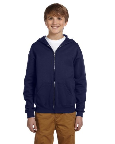 Jerzees Youth Nublend Full-Zip Hooded Sweatshirt, J Nvy, Small by Jerzees