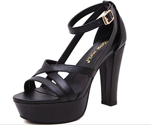 Scarpe Donna YCMDM tacco grosso Sandals Open Toe abbigliamento casual nero Almond , black , us6.5-7 / eu37 / uk4.5-5 / cn37