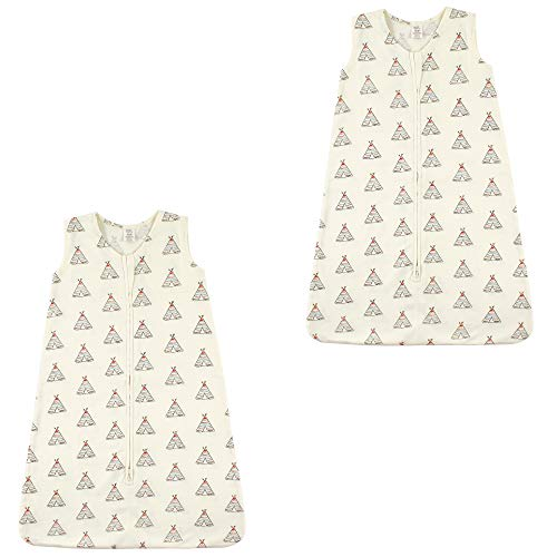 Touched by Nature Baby Organic Cotton Sleeveless Wearable Sleeping Bag, Sack, Blanket, Teepee 2-Pack, 6-12 Months