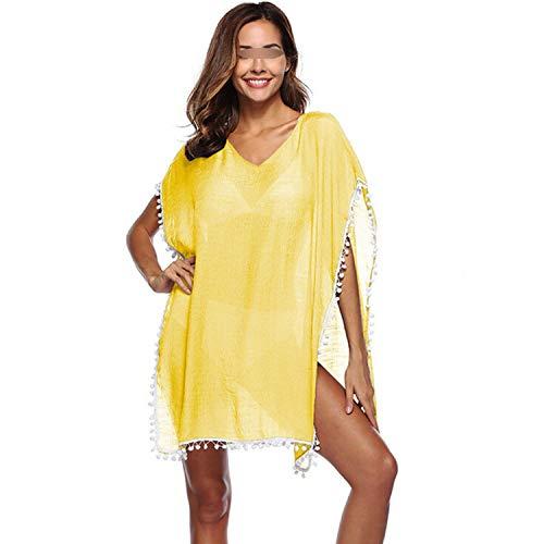 (two- Ladies Beach Dress Cover up Kaftan Sarong Summer Tassels Swimwear Bikini Summer Beach Cover-Ups Pareo Saida,As Photo shows4,One Size)