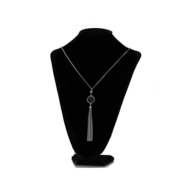 Long Chain Tassel Necklace Pendant Resin Sweater Chain Bohemian Style for Women, Change Color
