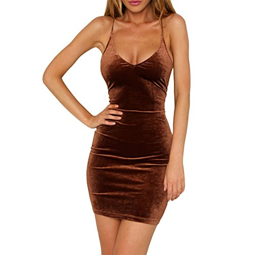 Cute Brown Dress (Antopmen Women's V Neck Spaghetti Strap Gold Velvet Dress Sleeveless Bodycon Dress (Large, Brown))