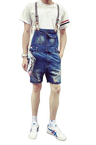 Denim Men's Summer Style Bib Short Knee Length Blue Overalls Size 29 (Knee Bib Length)