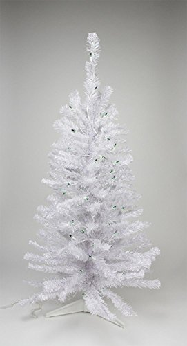 Northlight  Pre-Lit White Iridescent Pine Artificial Christmas Tree with Green Lights, 2'