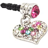 For Apple iPhone 4S 4 Galaxy S Cell Phones & MP3s Silver Heart Multi Colored Gems Universal 3.5mm Headphone Plug Charm