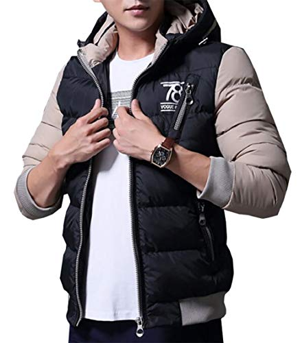 Water Gocgt Men's Jacket Quilted Resistant Padded Lightweight Puffer Black Hooded Poly q7Eg7p