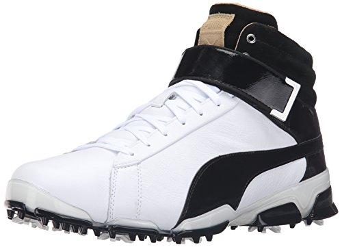 Delight Golf Shoes - PUMA Men's Titantour Ignite HI-TOP SE Golf Shoe, White Black, 10 Medium US