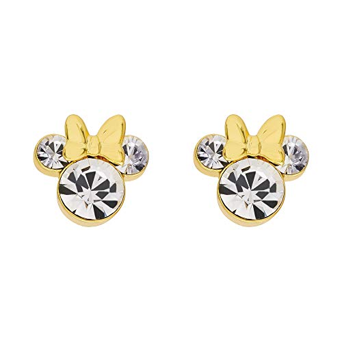 Disney Minnie Mouse Yellow Silver Plated Crystal Stud Earrings; Mickey's 90th Birthday Anniversary
