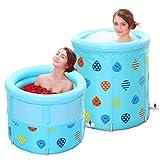 GJFeng Blue Insulated Bath Bucket Can Be Raised and Lowered Folding Tub Adult Bathtub Bucket 70cm 70cm