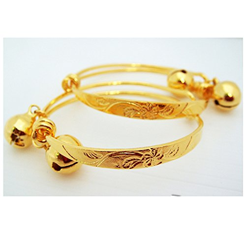 Flower Anklet Baby Set Bell 23k 24k Thai Baht Yellow Gold Plated (22k Gold Necklace Set)