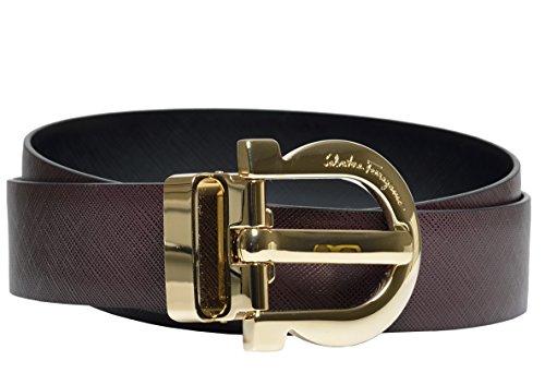 (Salvatore Ferragamo Women's Adjustable and Reversible Calfskin Leather Belt (40 US / 100 EU, Rough Noir/Nero))