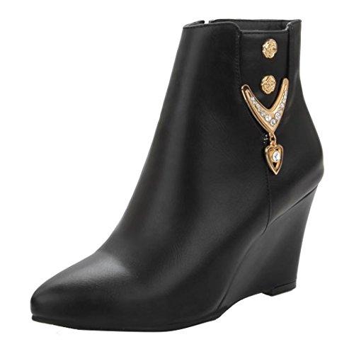 AIYOUMEI Damen Keilabsatz Stiefeletten mit Strass und 8cm Absatz Bequem Wedge Ankle Boots Warm Winter Keilstiefel Schwarz