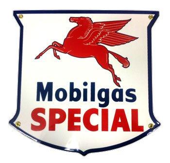 Mobil Gas Special Shield Porcelain Sign