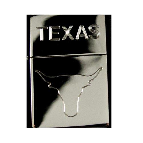 Lighter - Texas Bull High Polish Chrome (Engraved By Hip Flask Plus) - Star Int. Inc -