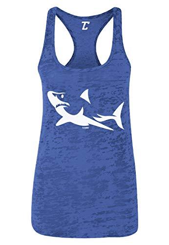 Shark Silhouette - Great White Hammerhead Women's Racerback Tank Top (Royal Blue, Large)