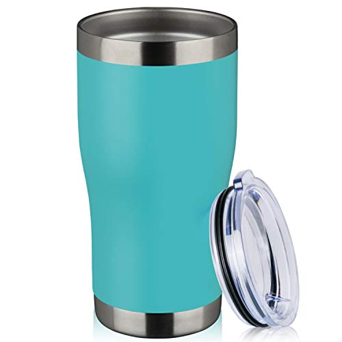 MEWAY 20oz Double Wall Vacuum Insulated Travel Mug, Stainless Steel Coffee Tumbler with Lid, Durable Powder Coated Insulated Coffee Cup for Cold & Hot Drinks (Blue Green, 20oz-1 Pack)