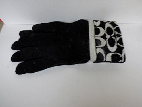 Coach Signature Tech Gloves Black/Pale Gray F86026