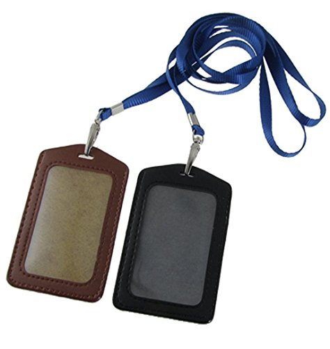 Amico Faux Leather Business ID Badge Card Vertical Holders Black Brown 2 Pcs,KESEE