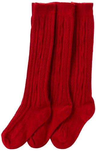 Jefferies Socks Big Girls'  School Uniform Acrylic Cable Knee High  (Pack of 3), Red, -