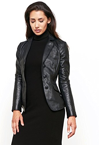 World Of Leather Women's Lambskin Genuine Leather Jacket Short Blazer Casual (XXL, (Lambskin Blazer Coat)