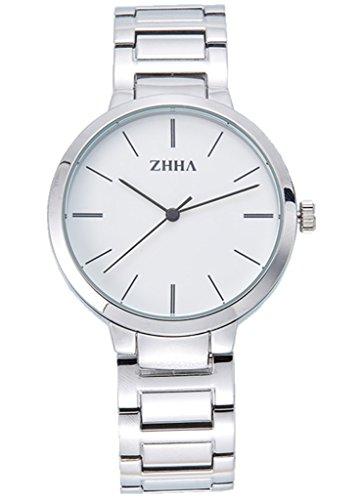 ZHHA Men's 062 Elegant Quartz White Dial Silver Stainless Steel Bracelet Wrist Watch Waterproof