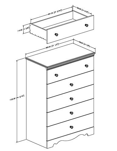 5 Drawer Chest In Pure White Color Made of Angineered Wood and Simple Design Make This Add to Your Bedroom Now by eCom Fortune (Image #3)