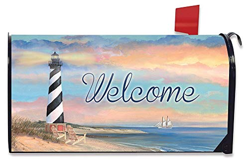 Briarwood Lane Coastal Lighthouse Summer Magnetic Mailbox Cover Welcome Pier Sailboats