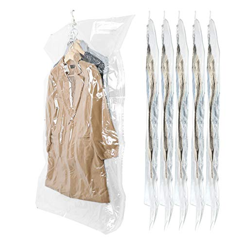 - SunHorde Hanging Vacuum Storage Bags Wide-Side Space Saver Bags for Clothes, 6 Long 53x27.6x15, Durable Vacuum Seal Bags for Out-of-Season Clothes, Dress, 80% More Storage Space for Closet, Reusable