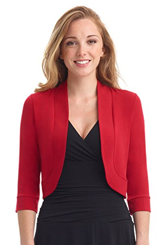Rekucci Women's Soft Knit Rounded Hem Stretch Bolero Shrug