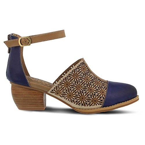 Lartiste By Spring Step Donna In Pelle Pauletta Sandalo Blu Navy Multi