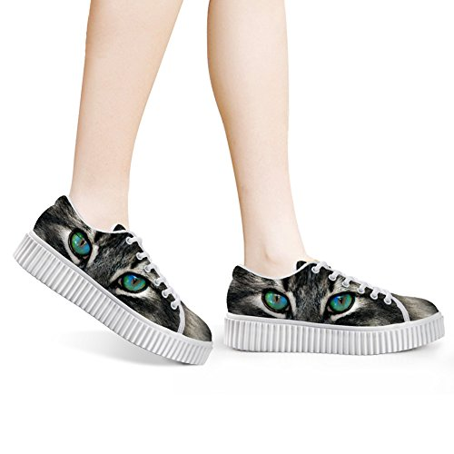 Fashion up Lace Sneaker 4 Cute FOR Shoe Print Funny Top Women Cat DESIGNS U Skate Low Platform wxz4B
