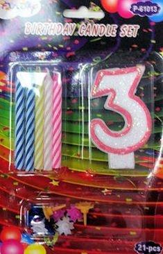 Juego de Velas de cumpleaños número Tres Rosa: Amazon.es: Hogar