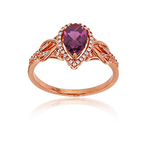 (Sterling Silver Rose 0.17 CTTW Round Diamond & 8x5mm Pear Cut Rhodolite Knot Sides Ring)
