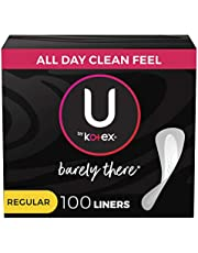 U by Kotex Barely There Feminine Liners, Light Absorbency, Regular, Unscented, 100 Ct