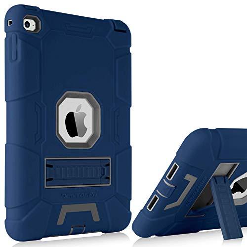 iPad Mini 5 Case,iPad Mini 4 Case,BENTOBEN Hybrid Three Layer Heavy Duty Rugged Cover Shockproof Built with Kickstand Protective Cases for iPad Mini 5/4,Navy Blue/Gray