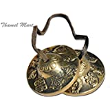 Hand Tuned to Key of Om 2.5 Inch- Tingsha Tibetan Bell (Chimes) Buddhist Lucky Symbols (Medium)