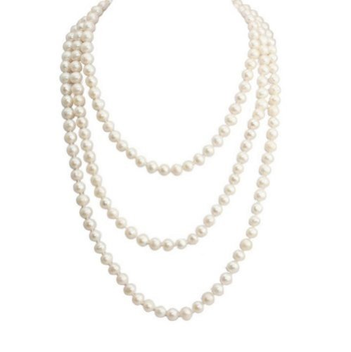 (Pearl 7-8 mm White Round Endless Pearl Necklace,Strands Necklace -NPW060 by Dazzle flash)