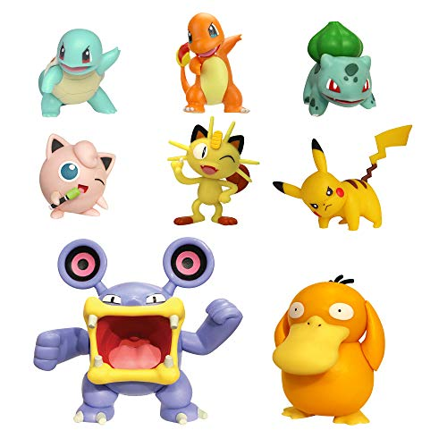 PoKéMoN Battle Action Figure Multi 8 Pack - Comes with 2' Pikachu, 2' Bulbasaur, 2' Squirtle, 2' Charmander, 2' Meowth, 3' Loudred, and 3' Psyduck