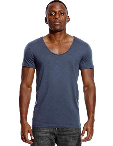 Deep V Neck T Shirt for Men Low Cut Scoop Tee Invisible Tshirt Vee Top Blue ()