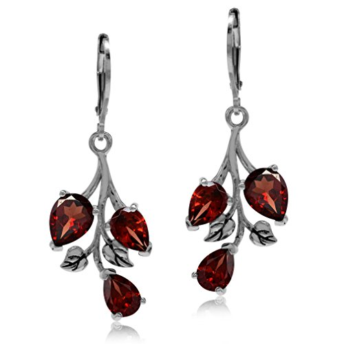 (5.7ct. Natural Garnet 925 Sterling Silver Leaf Leverback Dangle Earrings)