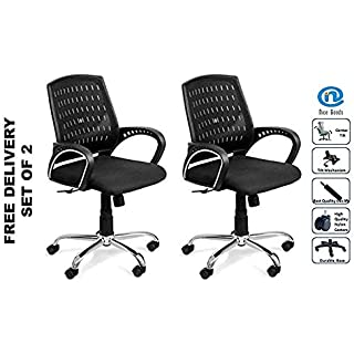 Nice Goods Fabric Office Arm Chair  Black, Set of 2  Desk Chairs
