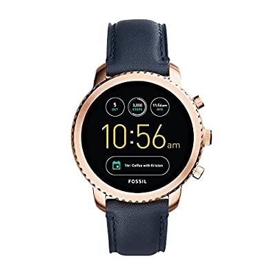 Fossil Q Men's Gen 3 Explorist Stainless Steel and Leather Smartwatch, Color: Rose Gold-Tone, Blue (Model: FTW4002) from Fossil Connected Watches Child Code