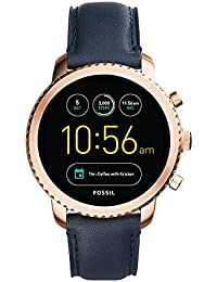 Q Men's Gen 3 Explorist Stainless Steel and Leather Smartwatch, Color: Rose Gold-Tone, Blue (Model: FTW4002)