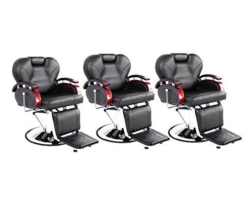 BarberPub Three Purpose Hydraulic Recline Salon Beauty Spa Shampoo Styling Barber Chairs 8705 Black