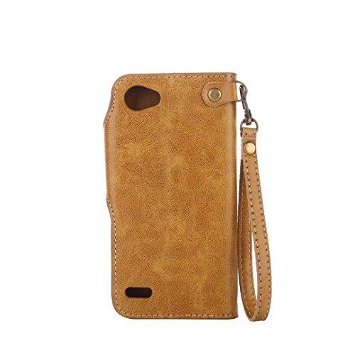 Hülle LG Q6 Handyhüllen, Ougger Fabric Design Tasche Leder Schutzhülle Bumper Schale Weich TPU Silikon Magnetisch-Stehen Beutel Flip Cover hülle Tasche LG Q6 / M700N / M700A mit Kartensteckplätzen, Bl Braun