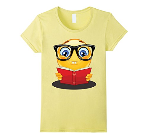 Cute Geeky Costumes (Womens Nerdy Reading Emoji Funny T-Shirt Cute Book Lover Gift Medium Lemon)