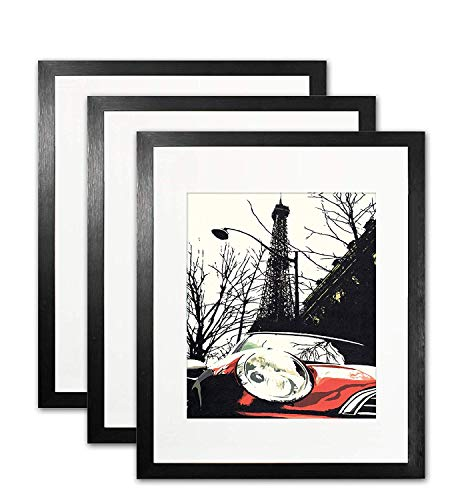 (Ohbingo 11x14 Black Picture Frames - Black Photo Frame with Mat for 8x10 Wall and Tabletop Display, 3 Pack)