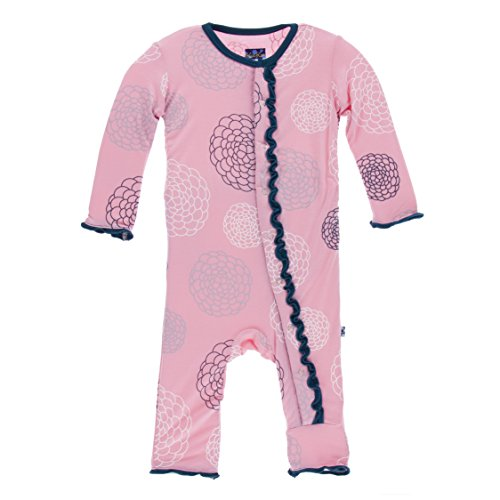 KicKee Pants Little Girls Print Muffin Ruffle Coverall (Snaps) - Lotus Blooms, 3-6 Months